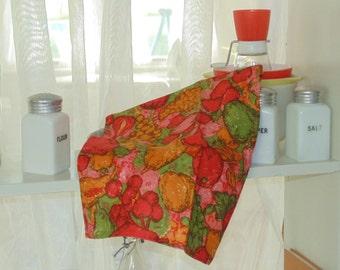 vintage linen towel  bright retro colors fruit pattern nos