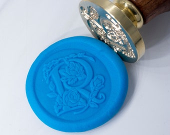 Wax Seal Stamp Set | Rose Font | For Lover | Love Letter | Floral Rose Decorative Letter Stamp | Wax Stamp | Seal Stamp