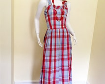 Vintage Late 50's Early 60's  Long Summer  Nights Bright Plaid Halter Dress Bustle