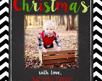 Christmas  Cards- chalkboard-chevron- 1,2,3,or 4 photos