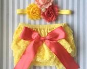Baby girls lace bloomer set-yellow lace bloomer-Pink Lemonade 1st Birthday-cake smash outift- baby shower gift- photo prop-sunshine birthday