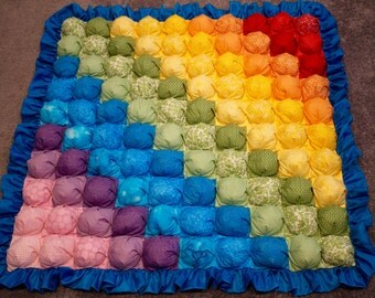Bubble Blanket - Biscuit Quilt - Rainbow Baby Blanket with Blue Ruffle and Purple Backing - Ready to Ship