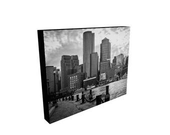 Boston Photography, Photo Canvas, Boston Waterfront, Boston Skyline, Black and White Landscape, Office Art, Man Cave Art, Home Decor