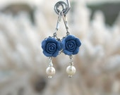 Tamara statement Earrings in Sailor Blue Rose . Dusty Blue Palette Rose Earrings