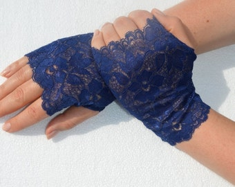 Lace Navy Blue Fingerless gloves, Navy Blue Stretch Lace Short Gloves