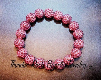 Pink Shamballa Beads Bracelet Stretch Pave Sparkly Beaded Disco Ball Bling Crystals