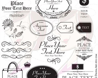 Office Clipart Supplies Commercial Use DIY Business Logo Digital Frames Flourish Retro DIY Label Tag Victorian Ornate 10186