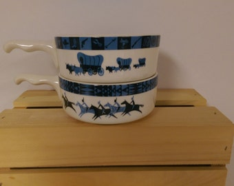 Set of Two (2) Lee Bates Western Themed Ovenproof  10 Ounce Chili, Soup or Cereal Bowls  Vintage Albuquerque,N.M