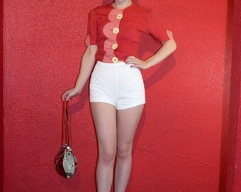 1960s White Knit Short Shorts Pinup  XS Small