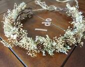 hair crown,  bridal flower crown, Pine cone wedding headpiece, Ready to ship, hair accessories, rustic, rustic haircrown, dried flowers