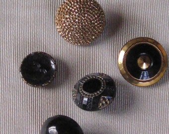 5 Antique Black Glass Buttons With Gold Decoration - Edwardian, Victorian - Vintage Sewing Supplies, Notions