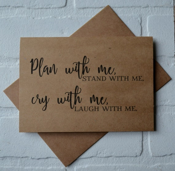 PLAN with me STAND with me laugh with me will you be my BRIDESMAID card bridal cards bridesmaid cards kraft wedding be my bridesmaid card