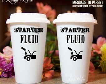 TRAVEL Ceramic Coffee Tumbler Mug, Starter Fluid, Mechanic's Mug Father's Day Gift Mechanic Auto Technician Gift Guy Mug Ceramic Travel MPH5