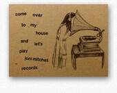 Retro love card // beautiful valentine eco greeting // let's play Joni Mitchell records / happy birthday greetings kraft cards / anniversary