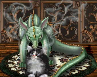 dragon and cat. dragon wall art. baby dragon. cat art print. kitten art. cat lovers gift. An 11x14 unframed print.