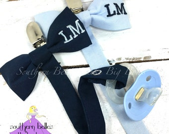 Personalized Baby Boy Gift, Personalized Pacifier Clip, Monogrammed Bow Tie Pacifier Clip, Gift for Baby Shower, New Baby Gift