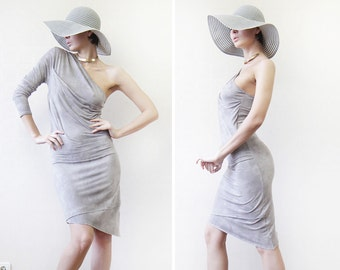 Vintage beige grey jersey one sleeve bare shoulder fitted midi dress L