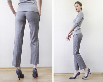 REISS vintage grey viscose wool skinny cigarette straight capris crop ankle pants XS