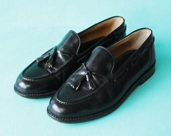 HUGO BOSS vintage Italian made black polished leather tassel leisure loafer men summer shoes