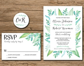 Watercolor Leaves Wedding Invitation Suite, Response Card, Monogram - PRINTABLE files - garden wedding, outdoor, watercolor leaves - Olivia