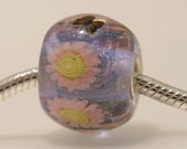 "Big Lampwork glass bead European Charm Focal bead pink ""Blooming"" Sterling silver core big hole 30 By Shirley"