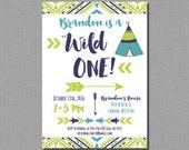 Tee Pee Invitation birthday boy first 1st wild one Printed or Digital