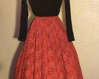 Vintage 1950's Novelty Print Egyptian Hieroglyphics Full Skirt M