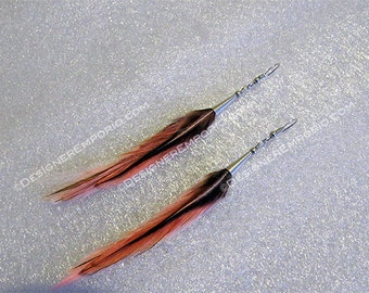Sterling silver and Salmon Pink Rooster hackle feather slim earrings, handmade, all natural, feminine, modern, hypo allergenic, nickel free