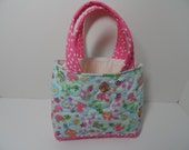 Girls quilted tote bag with turtles, perfect little bookbag or lunch tote