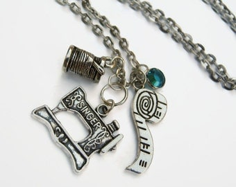 Seamstress Necklace, Sewing Machine Jewelry, Personalized Birthstone Necklace, Thread Sewer, Fabric Worker Neckace, Choose Your Length