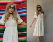 Vintage Vtg 70s Hippie Boho Festival Dress White Lace XS S M Peasant dress