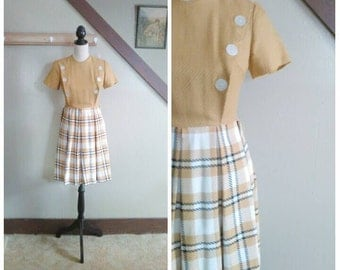 School Books & Pencils 1960s Mustard Brown/Black/Cream Plaid Mini Mod Dress with Button Detail