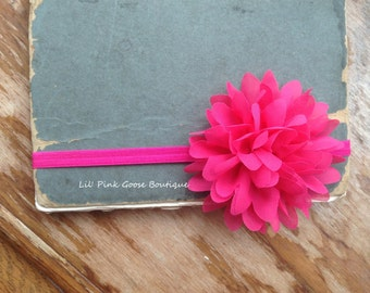 HOT PINK FLOWER Headband, Skinny Headband, Hot Pink Baby Headband, Newborn Headband, Newborn Photo Prop, Flower headband, Infant Headbands