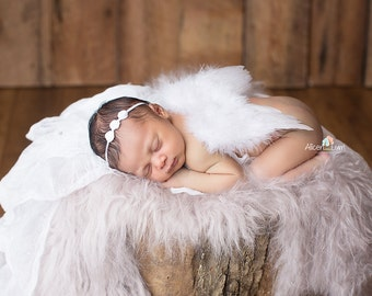 WHITE NEWBORN Feather Wings, Newborn Wings with Headband, Newborn Photo Prop, Newborn baby wings, angel wings, baby wings, White wings