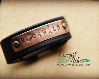 Rustic Western Cuff - Buckwild, Leather Cuff, Copper, Black, Gunmetal, Edgy, Horseshoe, Arrow