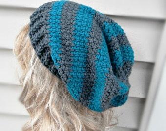 Slouchy Womens Hat Crochet Blue Hat Womens Hat Winter Hat Winter Accessories Crochet Accessories