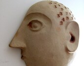 """Hold for John - David Gil """"A Head for Numbers"""" Pottery Wall Sculpture Bennington"""