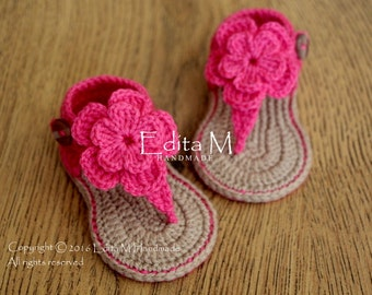Crochet baby sandals, baby gladiator sandals, baby booties, baby shoes,tan and pink, READY TO SHIP, size 6-9 months