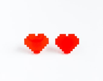 laser cut heart red post earrings-heart post earrings-rego block stud earrings-kawaii earrings-hipster earrings-kitsch tumblr-love factory