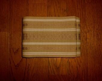 Vintage hanhaba-obi - Khaki, Hakata pattern, Casual kimono obi