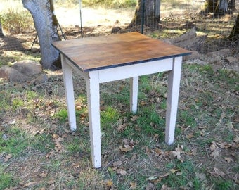 Antique 1900s Farmhouse Table Primitive Wood Painted Square Dining Breakfast Nook Vintage French Country Rustic English Bistro Work Counter