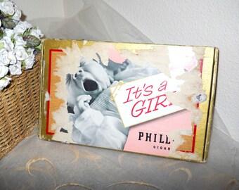 1957 Phillies Perfecto Rare Retro Cigar Box - IT'S A GIRL - New Baby Vintage Souvenir NYC Graphics Designer Seymour Robins Hollywood Regency