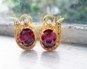 RESERVED Vintage 8K Gold Earrings with Red Oval Stones and tiny Cubic Zirconia on Omega Back Locks