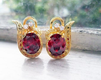 Vintage 8K Gold Earrings with Red Oval Stones and tiny Cubic Zirconia on Omega Back Locks