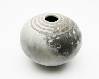 Striped Ceramic Vessel - Sawdust Fired