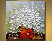contemporary wall art,Flowers painting Modern Textured Painting,  Palette Knife, Home Decor, Painting Oil on Canvas  by Chen xx18