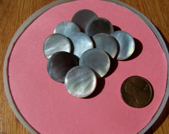 Set of 10 Vintage Smokey Pearl Shank Buttons