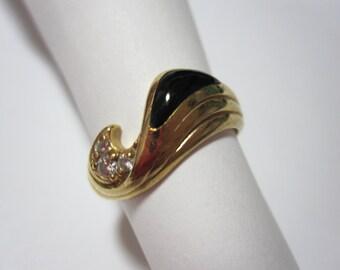 Black Onyx and Diamond 14K Gold Ring