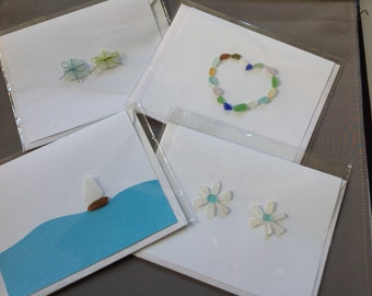 Greeting Cards All Occasion Assortment Sea Beach Glass Handmade Original Set of 4