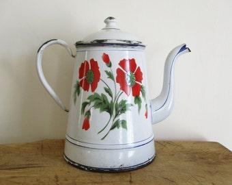 Vintage french enamel coffee pot, 1920, Enamelware, Flowers, Japy, Antique home decor, Rustic kitchen, Cafetiere émaillee